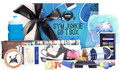 Actual contents of Gym Junkie Blue Gift Box Personalised Hamper Care Pack