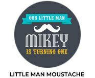 Little Man Moustache Birthday Party Favours