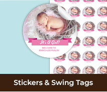 Baby Birth Announcement Stickers And Swing Tags