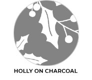 Holly On Charcoal Theme Custom Christmas Favours