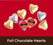 Custom Foil Covered Hearts For Christmas