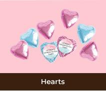 Custom Foil Chocolate Hearts For Gender Reveals