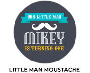 Moustache Theme Personalised Birthday Favours