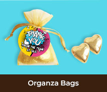 Thank You Organza Bags With Chocolate Hearts