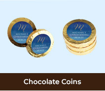 Custom Gold Chocolate Coins For Christenings