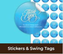 Personalised Thank You Stickers And Swing Tags