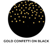 Gold Confetti On Black Wedding Favours