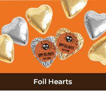 Custom Foil Chocolate Hearts For Halloween