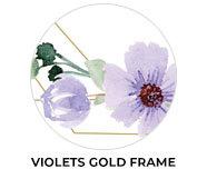 Violets On Gold Frame Wedding Theme Favours