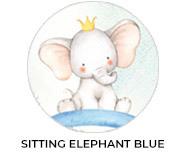 Sitting Elephant Blue Baby Shower Custom Favours