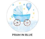 Pram Blue Theme Custom Baby Shower Favours