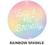 Rainbow Sparkle Theme Custom Birthday Favours