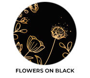 Flowers On Black Wedding Theme Favours