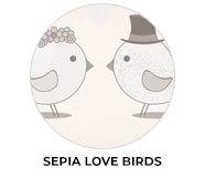 Sepia Love Birds Wedding Theme Favours