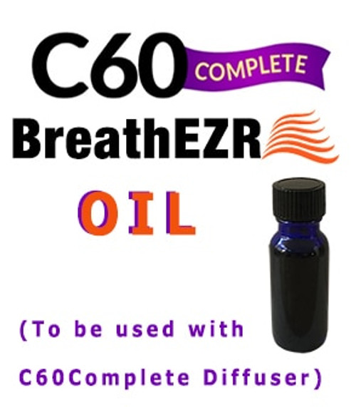 BreathEZR™ Oil by LiveLongerLabs is patent-pending, fully researched, Complete c60 + Curcumin in Blackseed Oil specially processed to work in tandem with the C60Complete BreathEZR Diffuser.