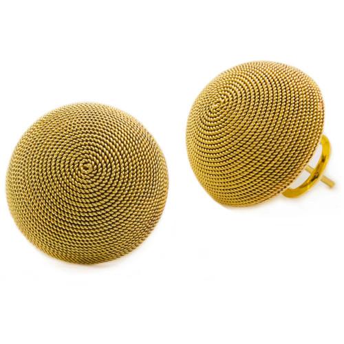 Vintage Italian 14k Gold Dome Clip-On Earrings