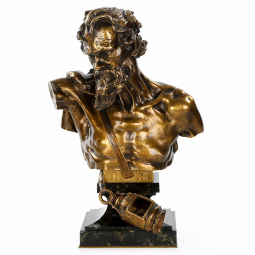 """Bronze Bust of """"Diogene"""" after Claudius Marioton cast by E. Colin"""