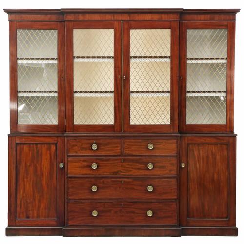 Fine George III Mahogany Breakfront Bookcase, London c. 1800