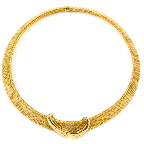 Vintage 14K Woven Gold Choker Necklace with Diamond Slide