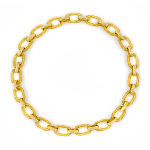 """Estate 18 Karat Gold Textured Open-Link Choker Necklace   14 3/4"""" long, 76.8 grams"""