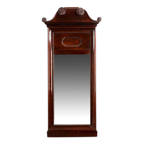 Neoclassical Carved Mahogany Pier Mirror, 19th century