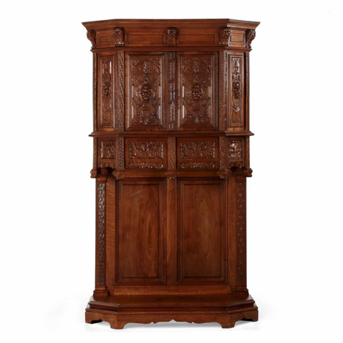 French Gothic Revival Carved Walnut Cupboard, circa 1880