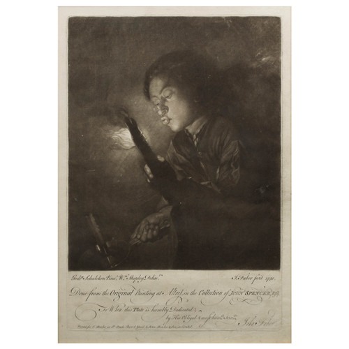 """Lighting a Candle""   Engraving by John Faber after Godefridus Schalcken"
