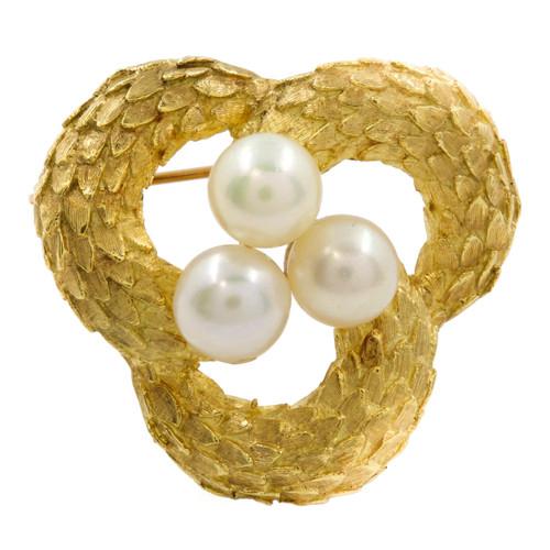 "Vintage Italian 18K Gold and Three Pearl ""Snakeskin"" Brooch"