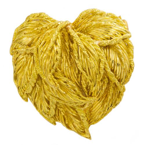 Vintage Italian 18k Gold Leaf-Cluster Heart Brooch