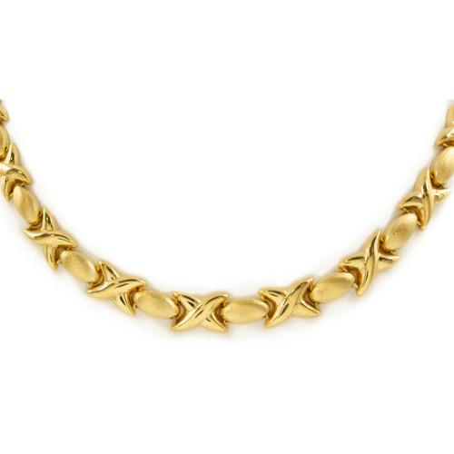 "Vintage Italian 14K Gold ""X & O"" Necklace   22 3/4"" long, 24.8 grams"