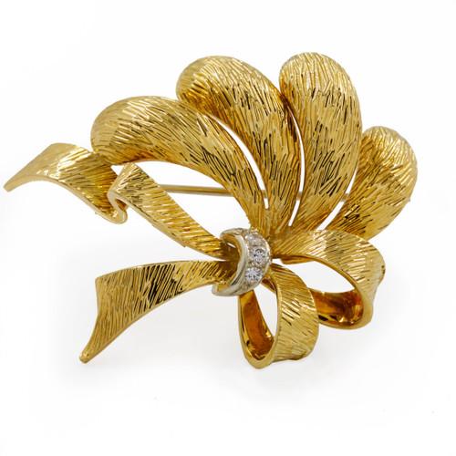 Vintage Italian 18K Gold & Diamond Textured Ribbon Brooch Pin