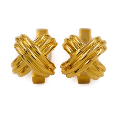 Pair of Tiffany & Co 18K Gold Signature X Cufflinks