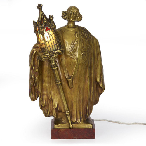Art Nouveau Gilt Bronze Figural Lamp by Léo Laporte-Blairsy (French, 1865-1923)