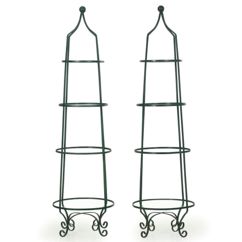 Pair of Vintage Green Painted Iron Tiered Glass Shelf Étagères
