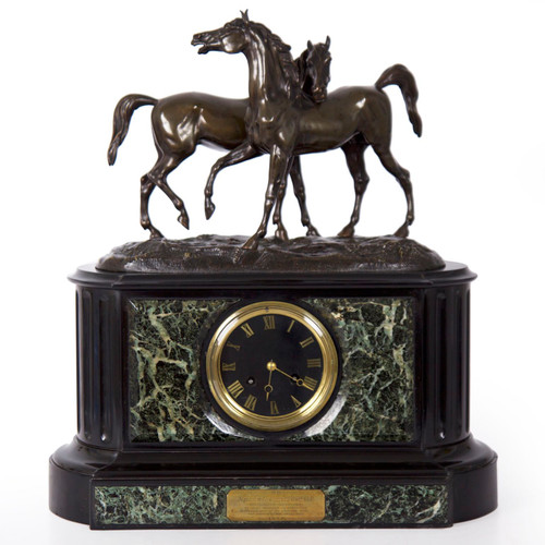 This playful figural clock is a fine representation of the Romantic idealizing that dominated the animal sculptors of the first half of the 19th century.