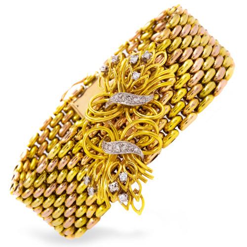 "Retro 18K Yellow & Rose Gold w/ Diamond ""Branches"" Bracelet"