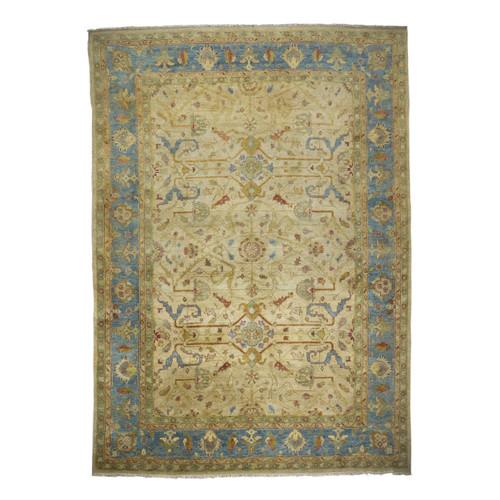 Room Size Oushak Style Geometrical Turkish Rug | 13.4' x 9.5'