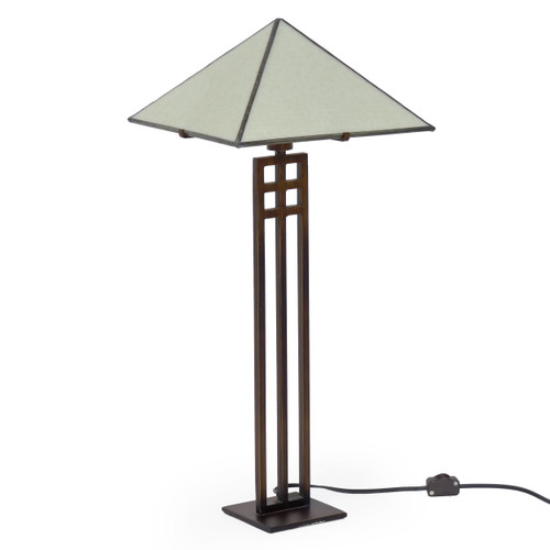Arts & Crafts Slag Glass and Cut Steel Table Lamp