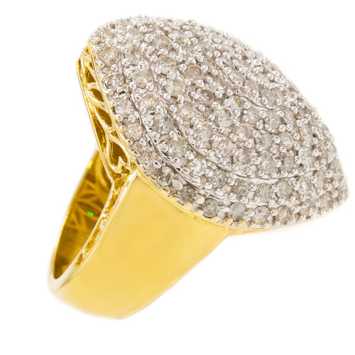 14k Yellow Gold and 3ct Diamond Cluster Ring by SJM