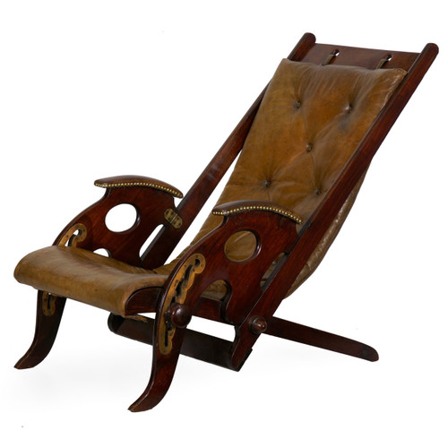 British Reclining Leather Campaign Chair   19th Century