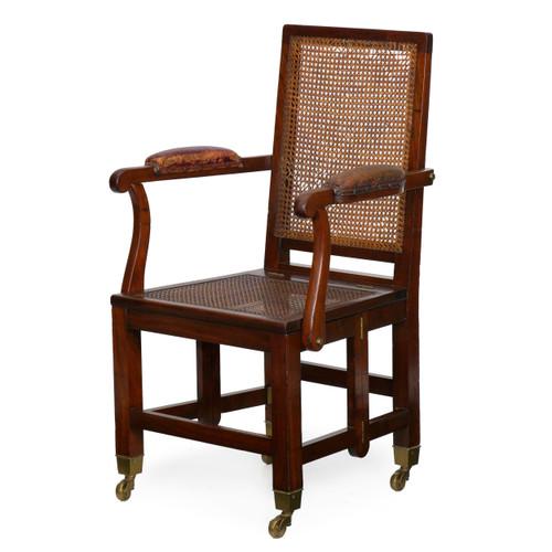 Rare British Mahogany & Leather Metamorphic Campaign Chair