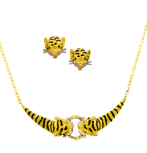 """Enameled 18k Gold, Diamond and Emerald """"Tiger"""" Earring & Necklace Suite"""