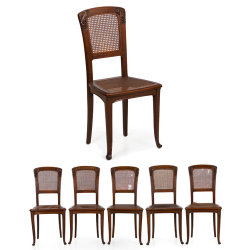 Art Nouveau Carved Walnut Caned Dining Chairs | Set of 6