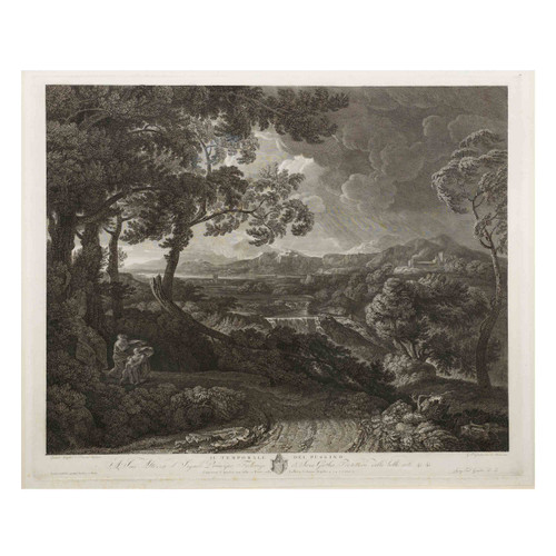 """""""Il Temporale del Pussino"""" (1813)   Engraving by Wilhelm Friedrich Gmelin after Gaspard Dughet"""