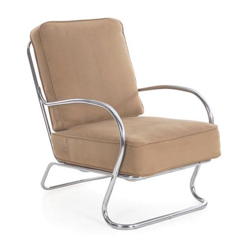 KEM Weber for Lloyd Chromed Tubular Arm Chair circa 1940s
