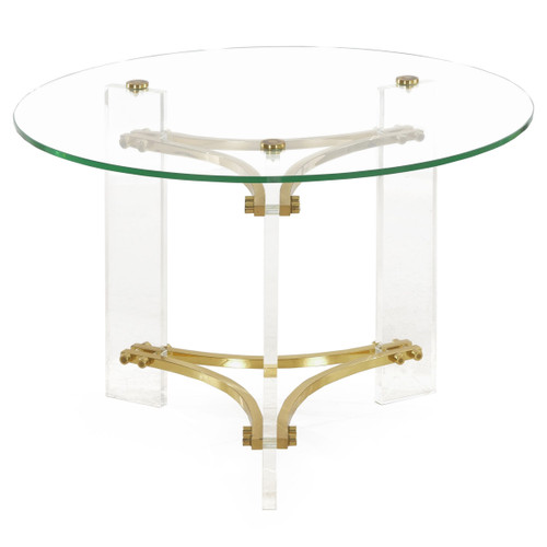 Glass, Brass and Lucite Accent Table by Charles Hollis Jones