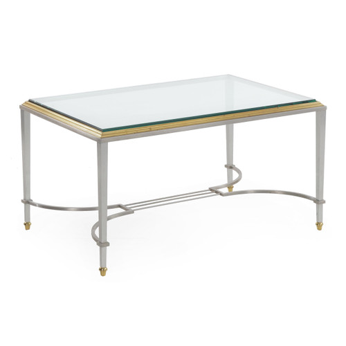 Neoclassical Steel, Brass & Glass Cocktail Table circa 1940s