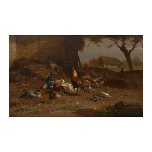 """""""Rooster, Hens and Brood in Farmyard"""", oil painting 