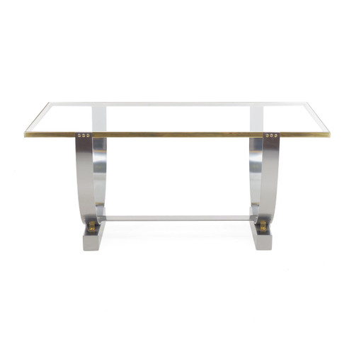 Donald Deskey Chromed Steel, Brass and Glass Console Table