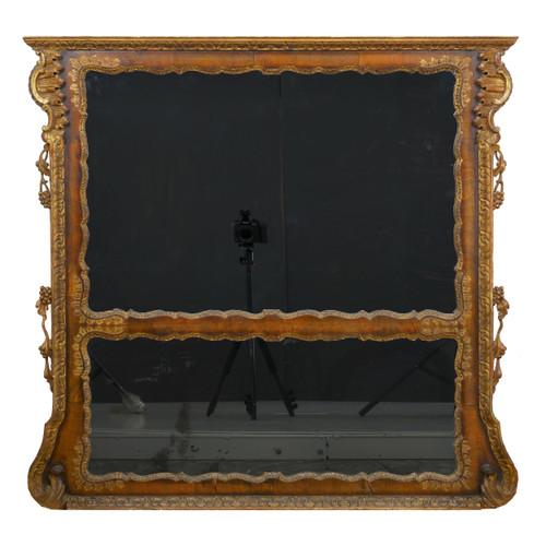 English Georgian Burl-Walnut Pier Mirror circa 1850s